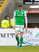7th March 2020; Pittodrie Stadium, Aberdeen, Scotland; Scottish Premiership Football, Aberdeen versus Hibernian; dejection for Adam Jackson of Hibernian after scoring an own goal to make the score 1-1 in the 64th minute