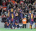 16.12.2012. Barcelona, Spain. La Liga day 16. Picture show FCB team after scoring during game FC Bracelona against Atletico Madrid at Camp Nou