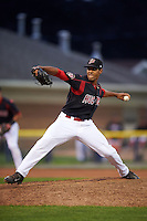 Batavia Muckdogs pitcher Nestor Bautista (39) delivers a pitch during a game against the Auburn Doubledays July 8, 2015 at Dwyer Stadium in Batavia, New York.  Batavia defeated Auburn 4-1.  (Mike Janes/Four Seam Images)