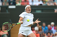 Jelena Ostapenko (LAT) during her victory against Dominika Cibulkova (SVK) in their Ladies' Quarter Final match<br /> <br /> Photographer Rob Newell/CameraSport<br /> <br /> Wimbledon Lawn Tennis Championships - Day 8 - Tuesday 10th July 2018 -  All England Lawn Tennis and Croquet Club - Wimbledon - London - England<br /> <br /> World Copyright &not;&copy; 2017 CameraSport. All rights reserved. 43 Linden Ave. Countesthorpe. Leicester. England. LE8 5PG - Tel: +44 (0) 116 277 4147 - admin@camerasport.com - www.camerasport.com