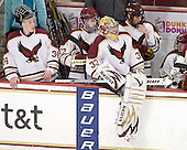 Ryan Polischuk (BC - 34), John Doherty (BC - 27), Chris Gherlone (BC - 33), Chris Cobb (BC - 4) - The Boston College Eagles defeated the visiting Boston University Terriers 6-2 in ACHA play on Sunday, December 4, 2011, at Kelley Rink in Conte Forum in Chestnut Hill, Massachusetts.