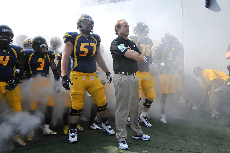 West Virginia Mountaineers Dana Holgorsen (HC) during a game against the Baylor Bears on September 29, 2012 at Milan Puskar Stadium in Morgantown, WV. West Virginia beat Baylor 70-63.