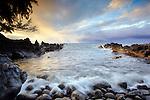 The rocky beach cove at Laupahoehoe on the Hamakua coast of the Big Island of Hawaii, USA