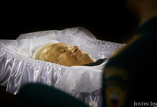 Former Russian President Boris Yeltsin lays in the Cathedral of Christ the Savior in Moscow, one day after his death from a heart failure. He was 76.