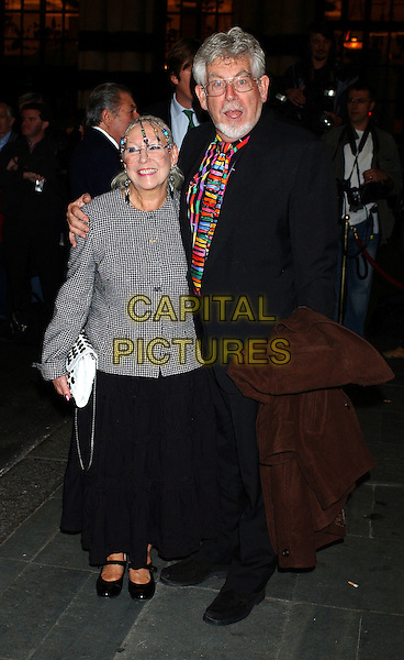 "ROLF HARRIS.Opening Night of The Musical ""Murderous Instincts"" at The Savoy Theatre, London.October 7th, 2004.full length, arm around shoulder, multi coloured shirt, shocked, surprised face, beaded hair.www.capitalpictures.com.sales@capitalpictures.com.© Capital Pictures."