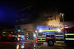 Two units of the Drogheda Fire service backed up by two units from the Dunleer fire service tackled a blase in an underground car park in an apartment block in the early hours of Friday Morning, Over sixty occupants of the appartment complex were evacuated from the Building by Garda and fire service personel. There were no injuries to the occupants,  Fire service and Garda sealed off the building, for safety reasons leaving the occupants with no place to stay.. Photo: Newsfile/Denise Cleary.