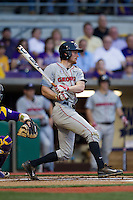 Georgia Bulldogs shortstop Nelson Ward #2 follows through on his swing during the Southeastern Conference baseball game against the LSU Tigers on March 22, 2014 at Alex Box Stadium in Baton Rouge, La. The Tigers defeated the Bulldogs 2-1. (Andrew Woolley/Four Seam Images)