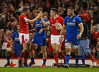 1st February 2020; Millennium Stadium, Cardiff, Glamorgan, Wales; International Rugby, Six Nations Rugby, Wales versus Italy; Dan Biggar congratulates Josh Adams of Wales on his second try to make the score 21-0