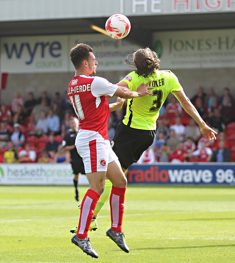 Fleetwood Town's Lyle Della Verde jumps with Southend United's Ben Coker<br /> <br /> Photographer Mick Walker/CameraSport<br /> <br /> Football - The Football League Sky Bet League One - Fleetwood Town v Southend United - Saturday 8th August 2015 - Highbury Stadium - Fleetwood<br /> <br /> &copy; CameraSport - 43 Linden Ave. Countesthorpe. Leicester. England. LE8 5PG - Tel: +44 (0) 116 277 4147 - admin@camerasport.com - www.camerasport.com