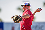 9 March 2014: Washington Nationals third baseman Ryan Zimmerman takes some first base warm up practice prior to a Spring Training game against the St. Louis Cardinals at Space Coast Stadium in Viera, Florida. The Nationals defeated the Cardinals 11-1 in Grapefruit League play. Mandatory Credit: Ed Wolfstein Photo *** RAW (NEF) Image File Available ***