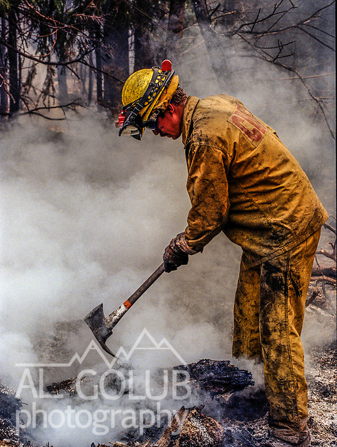 August 26, 1999 Buck Meadows, California -- Pilot Fire – CDF firefighter works to cool down stump fire. The Pilot Fire burned 3,300 acres in the Tuolumne River Canyon near Yosemite National Park. The fire burned across the Hetch Hetchy power lines.