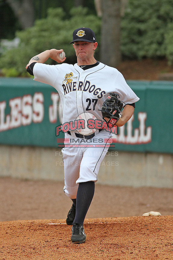 Charleston Riverdogs pitcher Caleb Cotham #27 throwing in the bullpen before a game against the Savannah Sand Gnats at Joseph P. Riley Jr. Park on May 16, 2012 in Charleston, South Carolina. Charleston defeated Savannah by the score of 14-5. (Robert Gurganus/Four Seam Images)