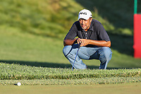 Bethesda, MD - July 1, 2017: Arjun Atwal lines up his putt during Round 3 of professional play at the Quicken Loans National Tournament at TPC Potomac in Bethesda, MD, July 1, 2017.  (Photo by Elliott Brown/Media Images International)