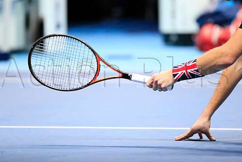 18th November 2017, O2 Arena, London, England; Nitto ATP Tennis Finals; A close view of Jamie Murray's (GBR) racket and wrist band