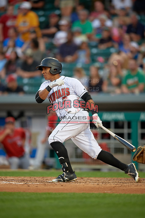 Indianapolis Indians center fielder Christopher Bostick (7) flies out during a game against the Rochester Red Wings on July 24, 2018 at Victory Field in Indianapolis, Indiana.  Rochester defeated Indianapolis 2-0.  (Mike Janes/Four Seam Images)