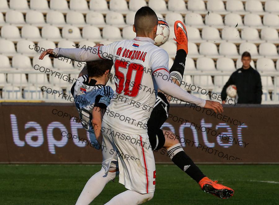 Fudbal Jelen Super League season 2015-2016<br /> Partizan v Vozdovac<br /> Nebojsa Kosovic (L) scores the goal near Borislav Terzic (R)<br /> Beograd, 12.03.2016.<br /> foto: Srdjan Stevanovic/Starsportphoto&copy;
