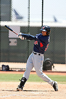 Chia-Ching Lin #20 of the Cleveland Indians plays in an extended spring training game against the Seattle Mariners at the Indians minor league complex on May 14, 2011  in Goodyear, Arizona. .Photo by:  Bill Mitchell/Four Seam Images.