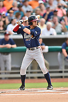 Mississippi Braves shortstop Dansby Swanson (7) awaits a pitch during a game against the Tennessee Smokies at Smokies Stadium on July 23, 2016 in Kodak, Tennessee. The Braves defeated the Smokies 3-0. (Tony Farlow/Four Seam Images)