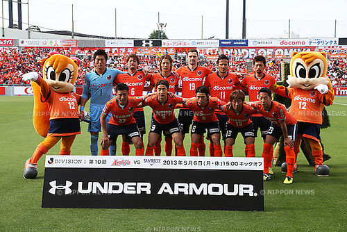 "Omiya Ardija team group line-up,.MAY 6, 2013 - Football / Soccer :.Omiya Ardija players (Top row - L to R) Takashi Kitano, Shohei Takahashi, Takuya Aoki, Milivoje Novakovic, Zlatan Ljubijankic, Kosuke Kikuchi, (Bottom row - L to R) Tomoki Imai, Cho Young Cheol, Takumi Shimohira, Daigo Watanabe and Shin Kanazawa pose for a team photo with the club mascots ""Ardi""(R) and ""Miya""(L) before the 2013 J.League Division 1 match between Omiya Ardija 2-1 Sanfrecce Hiroshima at NACK5 Stadium Omiya in Saitama, Japan. (Photo by Kenzaburo Matsuoka/AFLO)"