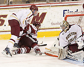 Brian Dumoulin (BC - 2), Rocco Carzo (UMass - 12), Parker Milner (BC - 35) - The Boston College Eagles defeated the visiting University of Massachusetts-Amherst Minutemen 2-1 in the opening game of their 2012 Hockey East quarterfinal matchup on Friday, March 9, 2012, at Kelley Rink at Conte Forum in Chestnut Hill, Massachusetts.