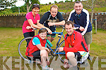 FUN CYCLE: Enjoying the fun at the charity cycle in aid of Kerry Mountain Rescue and Kerry Hospice at Killarney Fire Station on Saturday front l-r: Angelina Foley, Glencar and Gerard O'Sullivan, Killarney. Back L-r: Catherine Kerrisk, Anthony O'Sullivan, Killarney and Conor Cuscak (PRO Kerry Hospice).