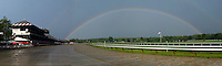 Saratoga Race Course rainbow.  This is a composite photo, from two separate images. Saratoga Race Course, Saratoga Racetrack, beautiful horse racing, Thoroughbred racing, horse, equine, racehorse, morning mood
