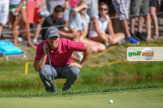 Rory McIlroy (NIR) lines up his putt on 17 during 3rd round of the World Golf Championships - Bridgestone Invitational, at the Firestone Country Club, Akron, Ohio. 8/4/2018.<br /> Picture: Golffile | Ken Murray<br /> <br /> <br /> All photo usage must carry mandatory copyright credit (© Golffile | Ken Murray)