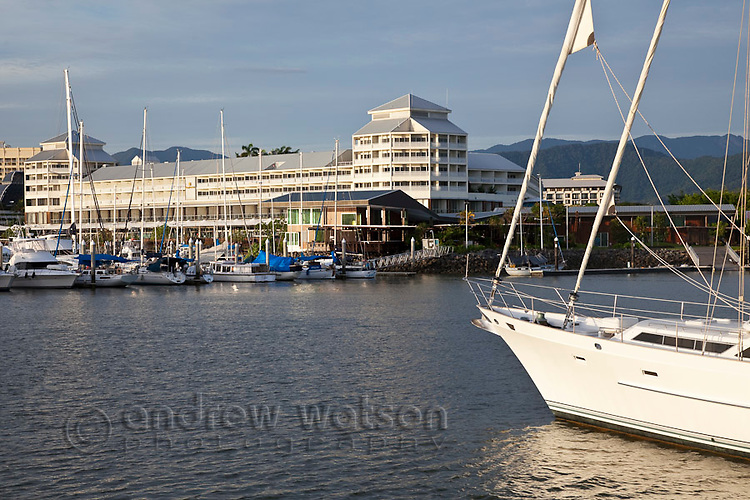 View across Marlin Marina to the Shangri-La Hotel.  Cairns, Queensland, Australia