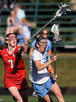 Megan Bosica (2) of North Carolina goes to goal while being defended by Kate Ivory (7) of Cornell at St. Stephens and St. Agnes High School in Alexandria, VA.  North Carolina defeated Cornell, 13-7.