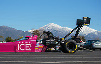 Feb 11, 2019; Pomona, CA, USA; The dragster of NHRA top fuel driver Leah Pritchett in front of snowcapped mountains during the Winternationals at Auto Club Raceway at Pomona. Mandatory Credit: Mark J. Rebilas-USA TODAY Sports