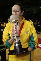 16.11.2007 Australian Liz Ellis celebrates after the Silver Ferns v Australia Final at the New World Netball World Champs held at Trusts Stadium Auckland New Zealand. Mandatory Photo Credit ©Michael Bradley.