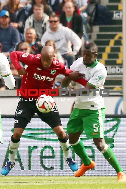 09.05.2015, HDI Arena, Hannover, GER, 1.FBL, Hannover 96 vs SV Werder Bremen im Bild <br /> <br /> Konstantin Fuhry (Hannover 96)<br /> Assani Lukimya (Bremen #5)<br /> <br /> Foto &copy; nordphoto / Rust