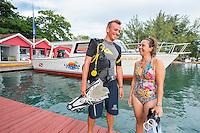 Honduras, Roatan Island, Fantasy Island Resort. Robin & Carolina scuba dive masters at Fantasy Island dive boats.