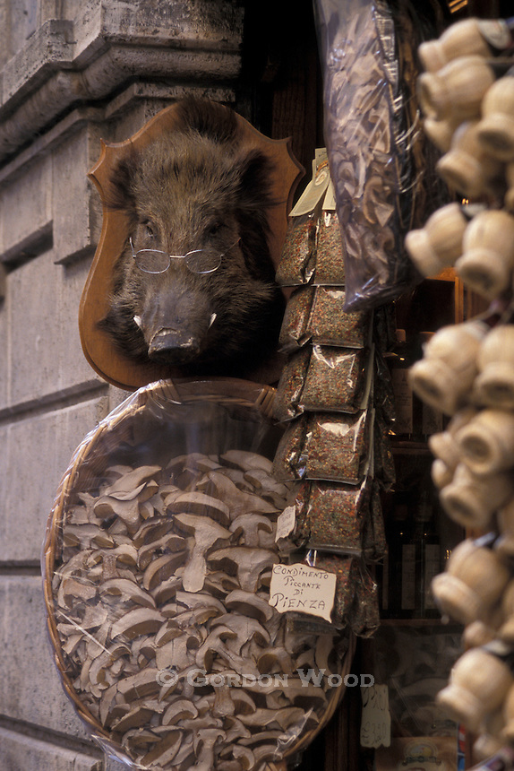 Condiments Shop with Boar's Head San Gimignano Italy