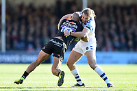 Olly Woodburn of Exeter Chiefs is tackled by Max Clark of Bath Rugby. Gallagher Premiership match, between Exeter Chiefs and Bath Rugby on March 24, 2019 at Sandy Park in Exeter, England. Photo by: Patrick Khachfe / Onside Images