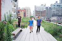 Annuska, Lucas, Felix and Alan on the high line park. New York summer holiday with family, 2014