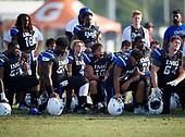 Jordan Butler (52), Tyler Booker (54), Erickson Buck (4), Josh Griffis (10), Jack Codwell (28), Ramsey Kifolo (64) - Norland Vikings (Miami) vs IMG Academy Football on October 26, 2019 at IMG Academy in Bradenton, Florida.  (Mike Janes Photography)