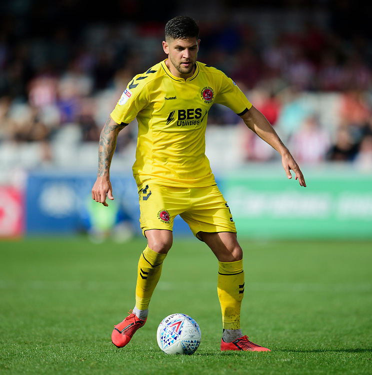 Fleetwood Town's Danny Andrew<br /> <br /> Photographer Andrew Vaughan/CameraSport<br /> <br /> The EFL Sky Bet League One - Lincoln City v Fleetwood Town - Saturday 31st August 2019 - Sincil Bank - Lincoln<br /> <br /> World Copyright © 2019 CameraSport. All rights reserved. 43 Linden Ave. Countesthorpe. Leicester. England. LE8 5PG - Tel: +44 (0) 116 277 4147 - admin@camerasport.com - www.camerasport.com