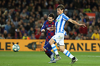 7th March 2020; Camp Nou, Barcelona, Catalonia, Spain; La Liga Football, Barcelona versus Real Sociedad;  Leo Messi puts his body in front of the challenge