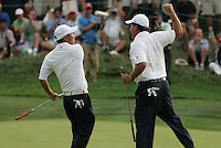 Phil Mickelson and Anthony Kim celebrate on the 17th hole in Friday fourballs at the 37th Ryder Cup at Valhalla Golf Club, Louisville, Kentucky, USA - 19th September 2008 (Photo by Manus O'Reilly/GOLFFILE)