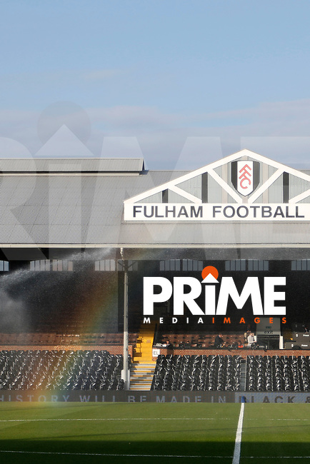 A general view of the stadium with rainbow during the Sky Bet Championship play off semi final 2nd leg match between Fulham and Derby County at Craven Cottage, London, England on 15 May 2018. Photo by Carlton Myrie / PRiME Media Images.