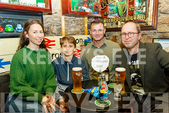 Answering questions at the Derryquay National school fundraising quiz in the Railway Tavern, Camp last Friday night, were L-R Penny&Diarmuid Waugh, Padraig O'Sullivan and Marlon Waugh.