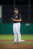 Batavia Muckdogs relief pitcher Tyler Mitzel (40) gets ready to deliver a pitch during a game against the Lowell Spinners on July 16, 2018 at Dwyer Stadium in Batavia, New York.  Lowell defeated Batavia 4-3.  (Mike Janes/Four Seam Images)