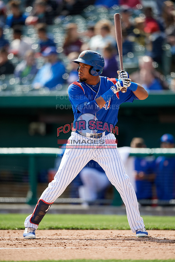 South Bend Cubs right fielder Chris Pieters (28) at bat during a game against the Kane County Cougars on May 3, 2017 at Four Winds Field in South Bend, Indiana.  South Bend defeated Kane County 6-2.  (Mike Janes/Four Seam Images)