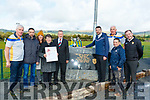 L-R Maurice Costello, Cordal GAA chairman, James, Annmarie&Joan Roche, MEP Sean Kelly, FG, Junior Minister for sport&tourism, Brendan Griffin, FG, Charlie Farrelly, KCC Councillor, Jimmy Roche and Councillor Fionnán Fitzgerald, FF, at the official opening of the new Juvenile pitch at Cordal GAA grounds last Saturday afternoon in memory of Jimmy Roche, who was well known for his hard work for the club for over 5 decades.