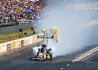 Jul. 19, 2014; Morrison, CO, USA; NHRA top fuel driver Tony Schumacher during qualifying for the Mile High Nationals at Bandimere Speedway. Mandatory Credit: Mark J. Rebilas-