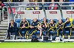 Solna 2015-09-08 Fotboll EM-kval , Sverige - &Ouml;sterrike :  <br /> Sveriges assisterande assistant coach Marcus Allb&auml;ck Allback , ledare Reine Almqvist , m&aring;lvaktstr&auml;nare Lars Lasse Eriksson med &ouml;vrig stab deppar p&aring; avbytarb&auml;nken under matchen mellan Sverige och &Ouml;sterrike <br /> (Photo: Kenta J&ouml;nsson) Keywords:  Sweden Sverige Solna Stockholm Friends Arena EM Kval EM-kval UEFA Euro European 2016 Qualifying Group Grupp G &Ouml;sterrike Austria depp besviken besvikelse sorg ledsen deppig nedst&auml;md uppgiven sad disappointment disappointed dejected tr&auml;nare manager coach