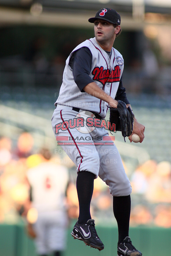August 10, 2009: Chase Wright of the Nashville Sounds, Pacific Cost League Triple A affiliate of the Milwaukee Brewers, during a game at the Spring Mobile Ballpark in Salt Lake City, UT.  Photo by:  Matthew Sauk/Four Seam Images
