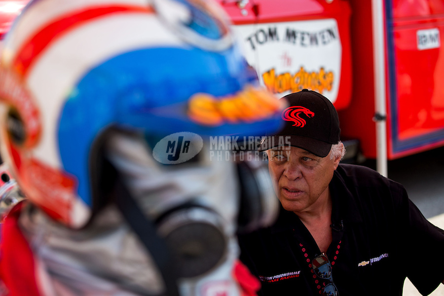 Aug. 30, 2013; Clermont, IN, USA: NHRA former top fuel driver Don Prudhomme in attendance during qualifying for the US Nationals at Lucas Oil Raceway. Mandatory Credit: Mark J. Rebilas-