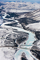 South fork of the Koyukuk River with frozen overflow. James Dalton Highway and the trans Alaska oil pipeline cross the river. Brooks Range, Arctic, Alaska.